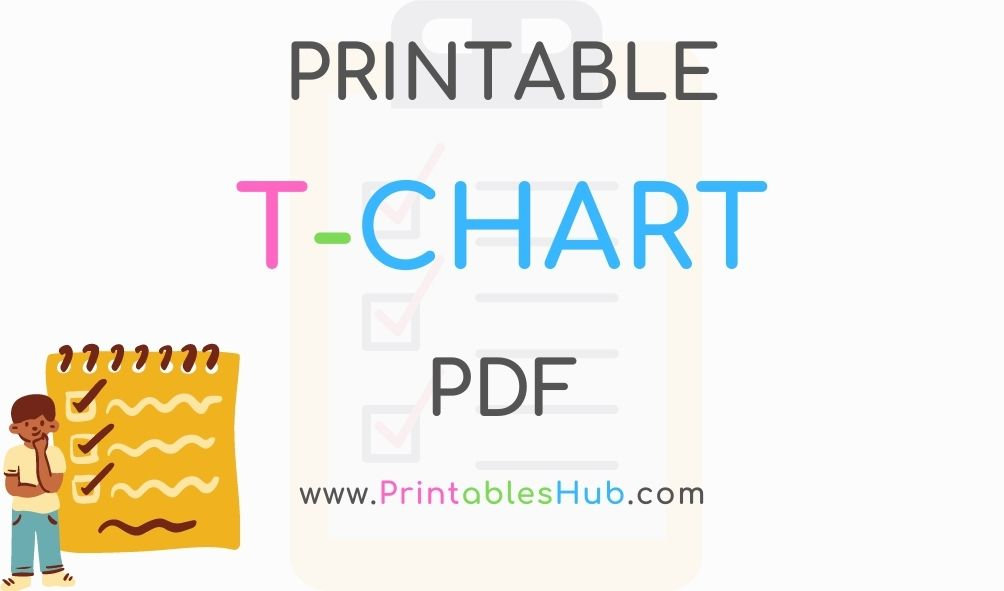 Free Printable T-chart [PDF] blank and with lines template
