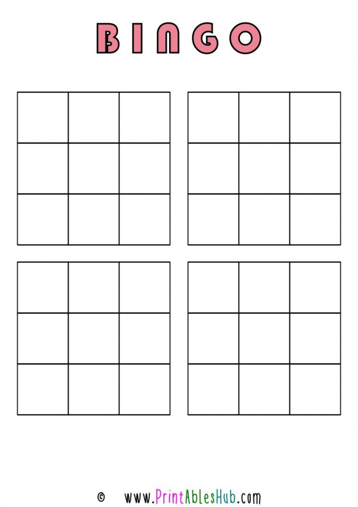 Free Printable 3x3 Blank Bingo Cards [PDF] 4 per page template