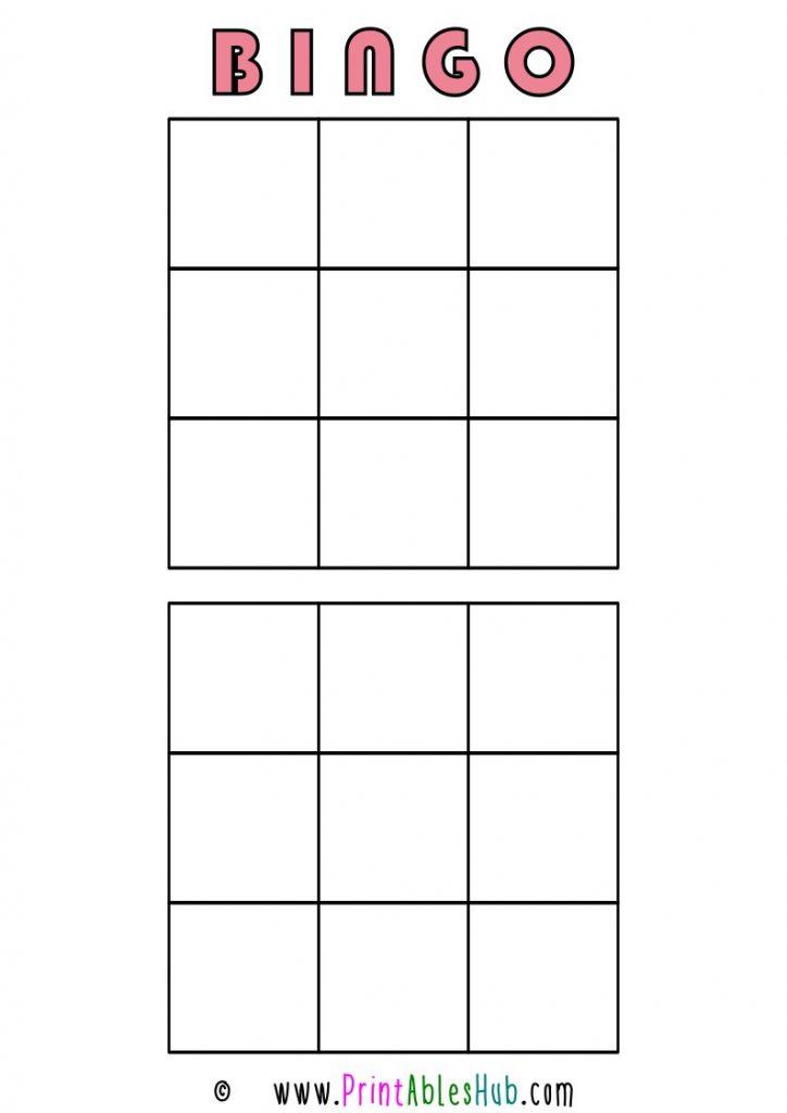 Free Printable 3x3 Blank Bingo Cards [PDF] 2 per page template