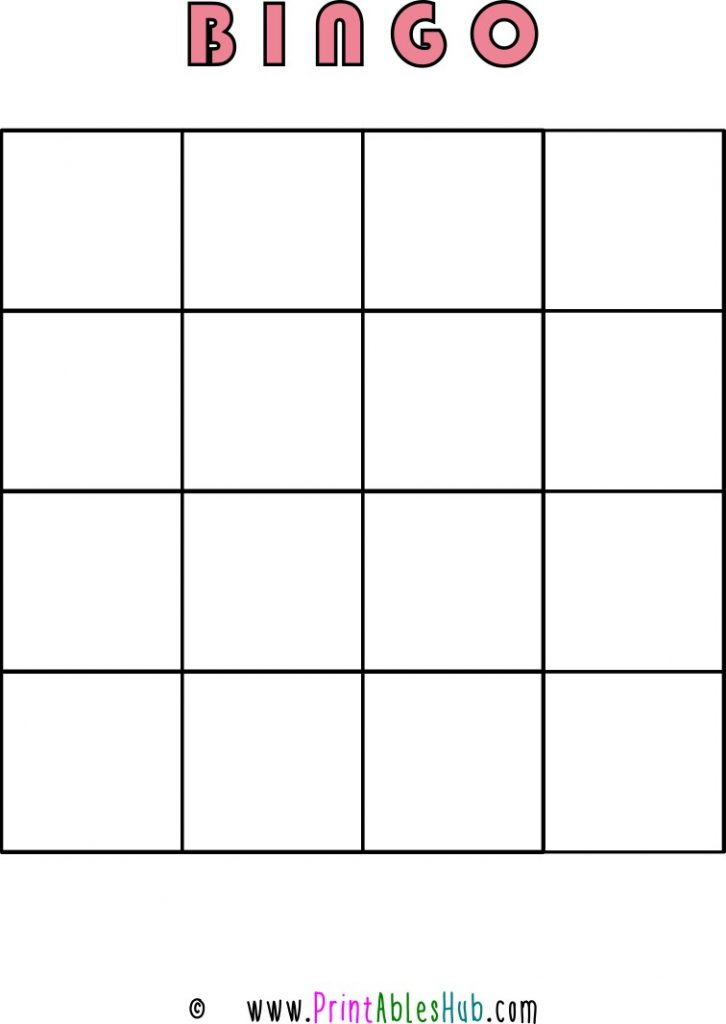 Free Printable 4x4 Blank Bingo Cards [PDF] Single Template