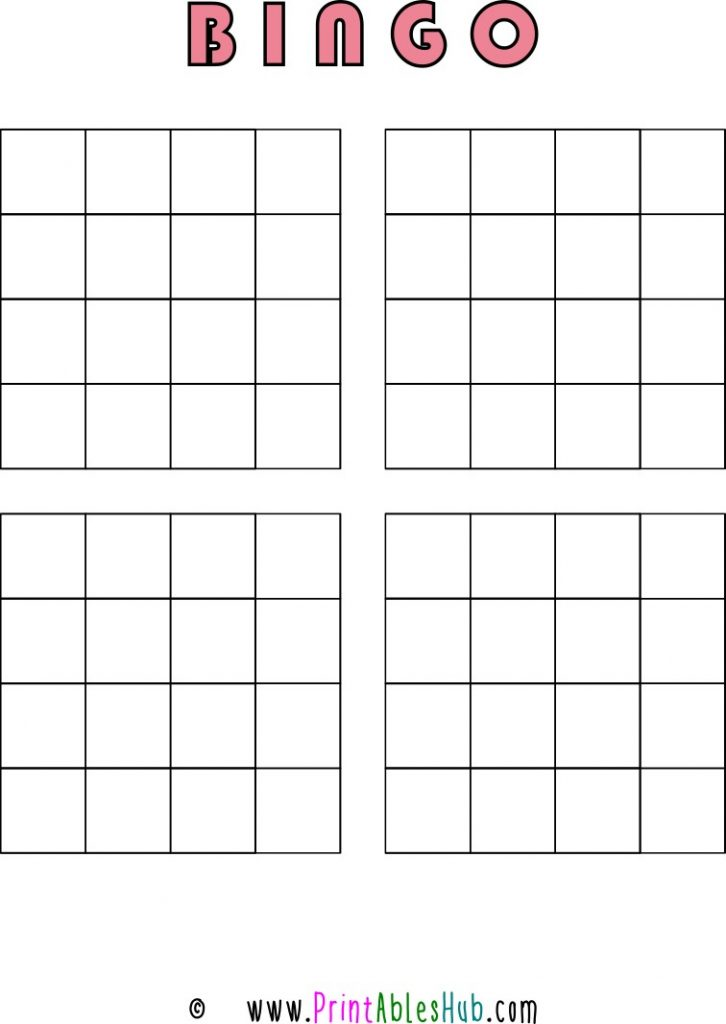 Free Printable 4x4 Blank Bingo Cards [PDF] 4 per page template