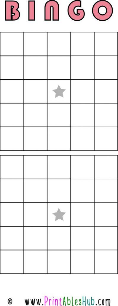 Free Printable 5x5 Blank Bingo Cards [PDF] 2 per page Template