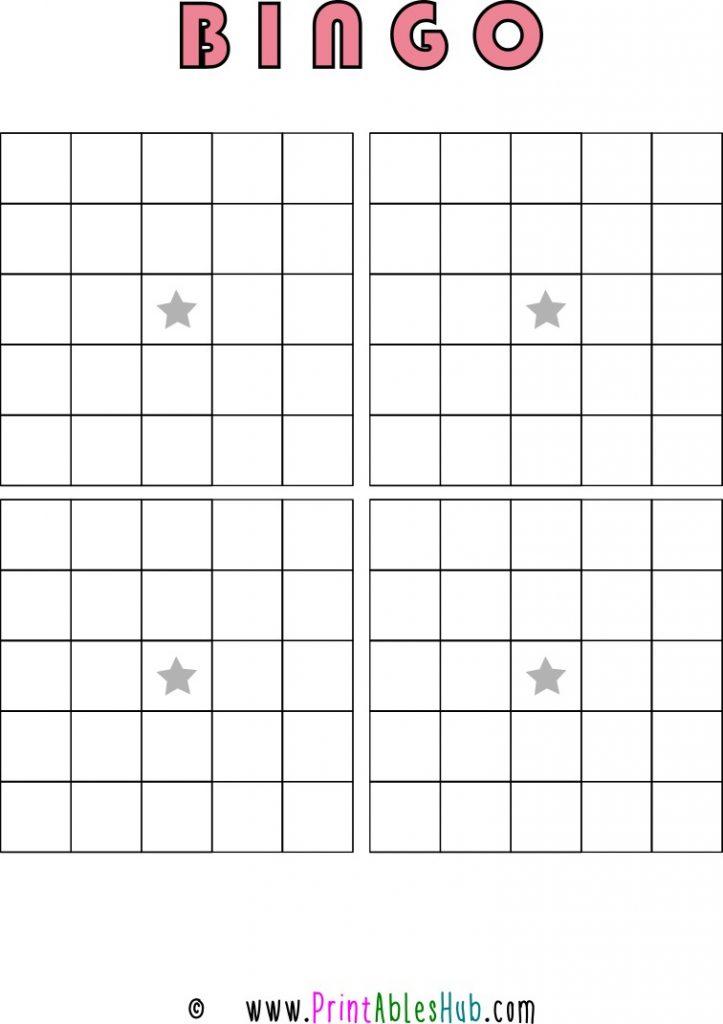 Free Printable 5x5 Blank Bingo Cards [PDF] 4 per page Template
